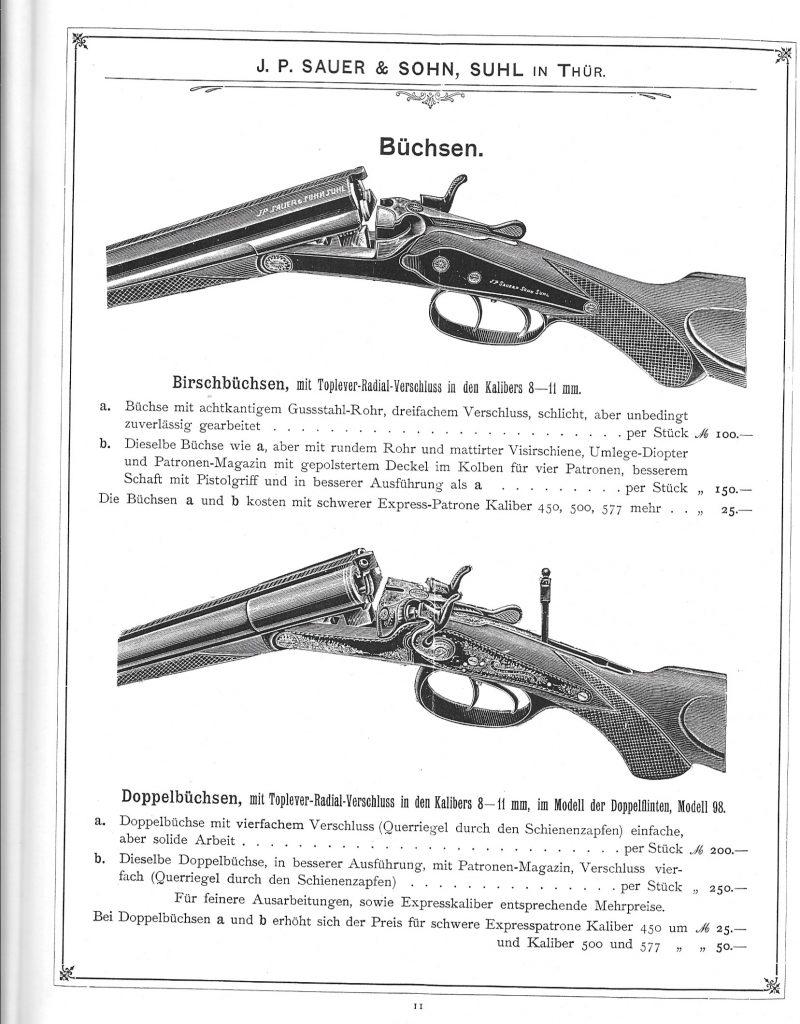 A Sauer cég 1911-es katalógusa. Forrás: germanhuntingguns.com