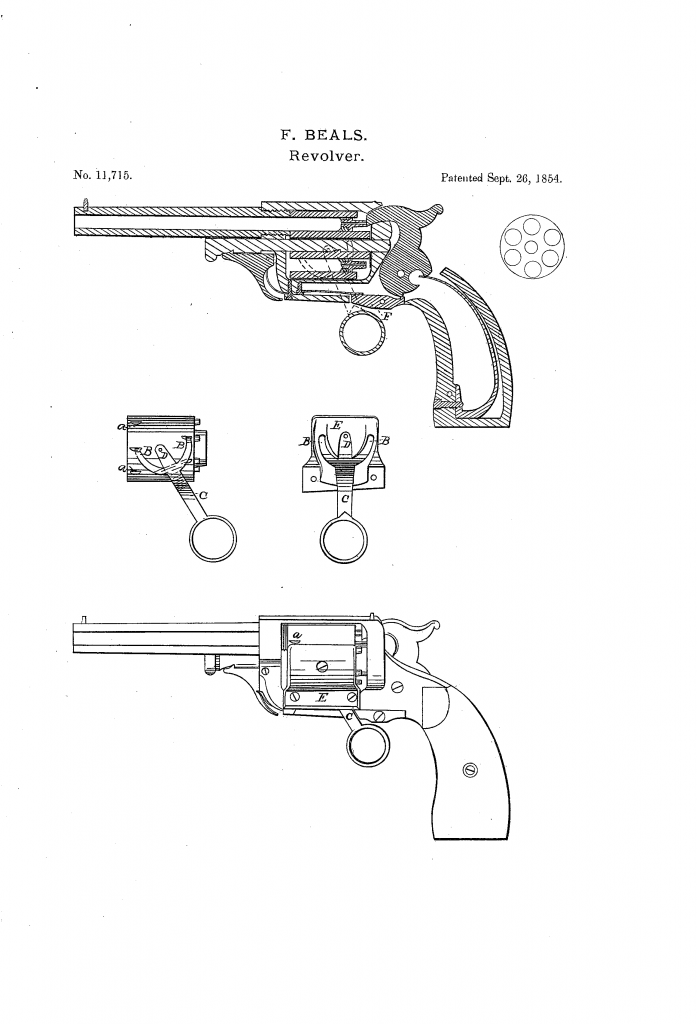 Beals' patent of the walking beam revolver for Whitney