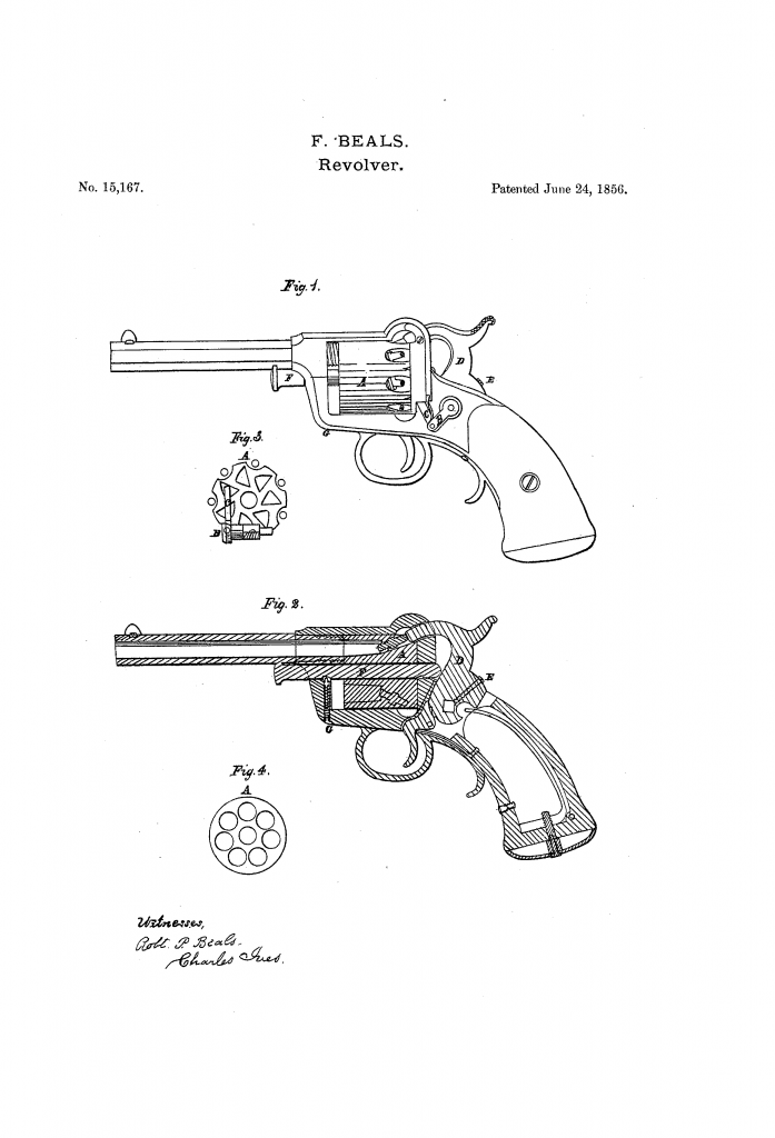 Patent of the first model Beals revolver